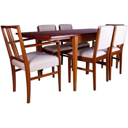 Set of dining table and 6 chairs in tulipwood, Gordon RUSSELL - 1960s