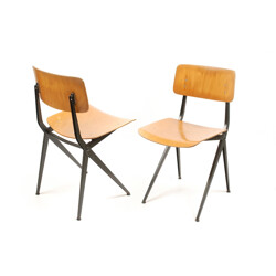 Dutch Marko school chair in plywood and steel - 1950s
