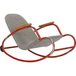 Re-upholstered children's rocking chair with red frame - 1960s
