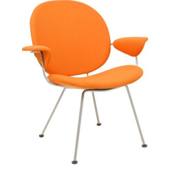 "Gispen ""Triënnale"" chair in steel and orange and yellow fabric - 1960s"