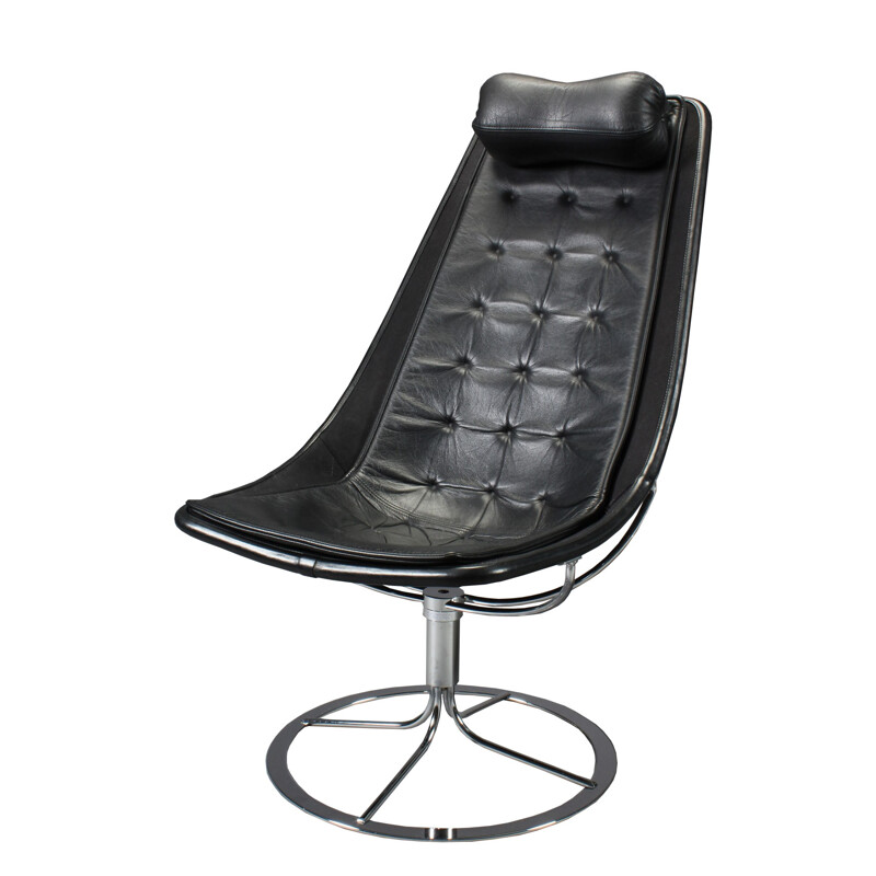 """Jetson 66"" armchair in black leather, Bruno MATHSSON - 1960s"