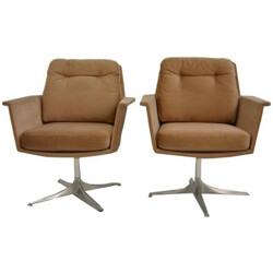 "Pair of armchairs ""COR"" model Sedia in velvet, Leather Bruning - 1960s"