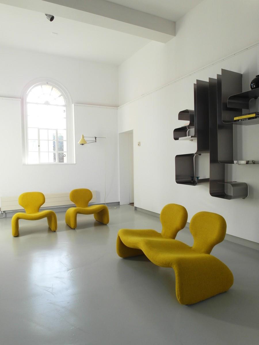Yellow djinn settee sofa, Olivier MOURGUE - 1960s - Design Market