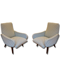 Pair of Mid century re-upholstered armchairs - 1960s
