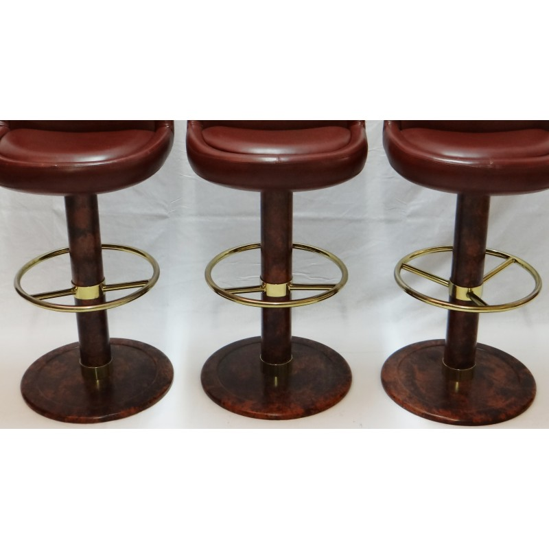 set of 3 bar stools in red leather and brass - 1970s - design market 1970s Bar Stools