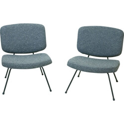 "Pair of vintage Thonet ""CM 190"" low chairs in fabric, Pierre PAULIN - 1950s"