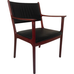 """Jeppesen """"P412"""" armchair in rosewood and black leather, Ole WANSCHER - 1960s"""