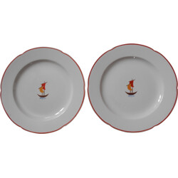 Set of two plates in ceramic, Gio PONTI - 1930s