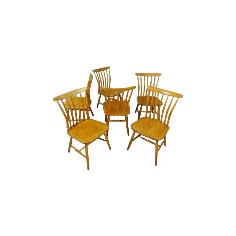 Set of 6 chairs in wood, Bengt AKERBLOM - 1950s