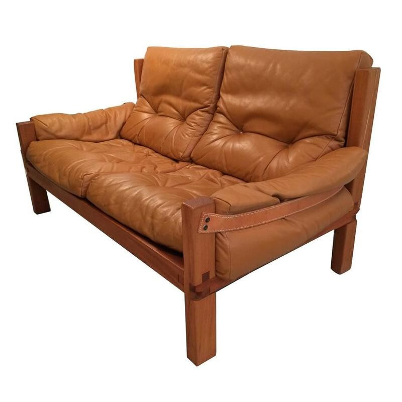 """2 seater sofa """"S22"""" in leather by Pierre CHAPO - 1960s"""