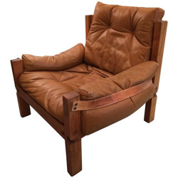 """""""S15"""" armchair in leather and wood, Pierre CHAPO - 1960s"""