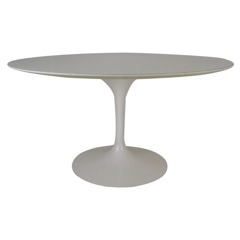 Table Knoll Tulip In White Melamine Wood By Eero SAARINEN   1970s
