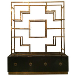 Large shelves in glass, brass and lacquered wood, Romeo REGA - 1970s