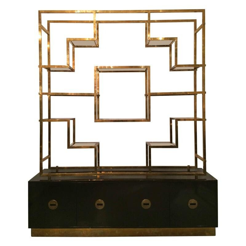 Large shelves in glass, brass and lacquered wood by Romeo REGA - 1970s