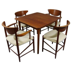 Table and 4 dining chair in teak, Peter HVIDT and Orla MOLGAARD NIELSEN - 1950s