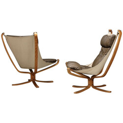 "Pair of armchairs ""Falcon"" in leather, Sigurd RESSELL - 1970s"