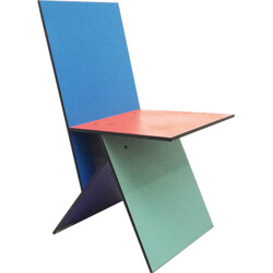 """Vilbert""  Ikea multicolored chair, Verner PANTON - 1990s"