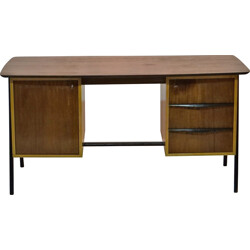 Belgian Belform desk in bubinga wood and brass, Alfred HENDRICKX - 1950s
