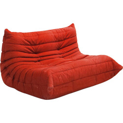 "Ligne Roset ""Togo"" 2-seater low chair in red fabric - 1970s"