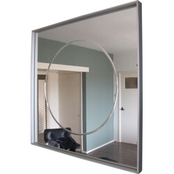 Square mirror in glass and aluminum - 1980s