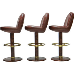 Set of 3 bar stools in red leather and brass - 1970s
