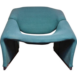 """Artifort """"Groovy"""" armchair in blue fabric and wood, Pierre PAULIN - 1960s"""