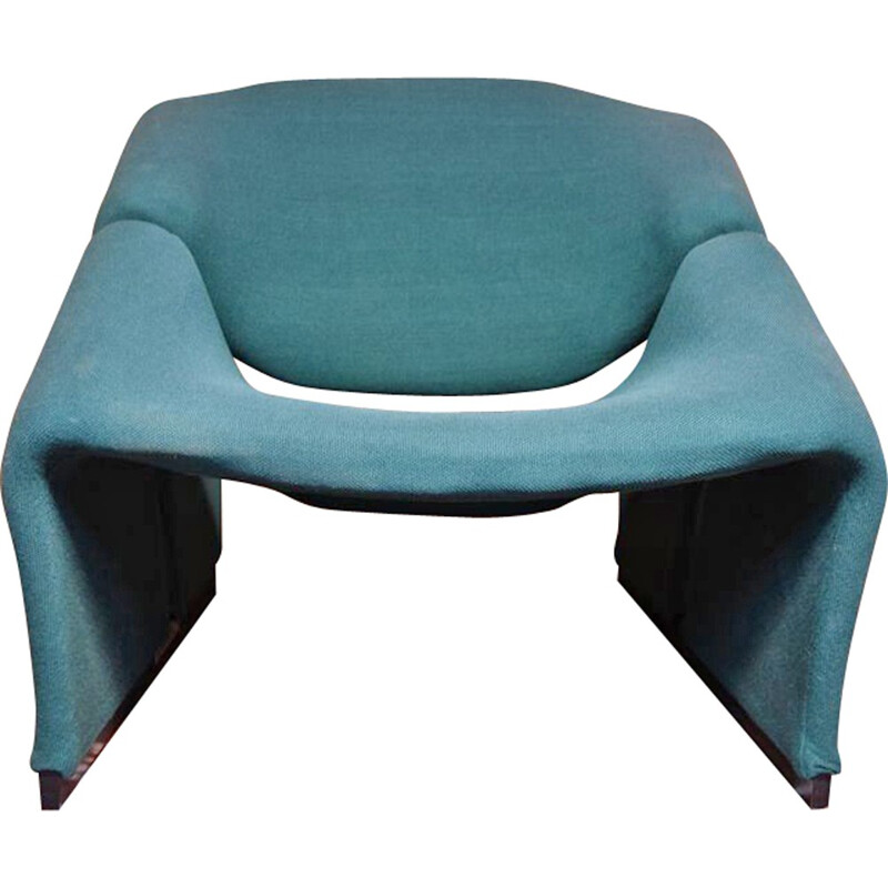 "Artifort ""Groovy"" armchair in blue fabric and wood, Pierre PAULIN - 1960s"