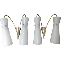 Pair of wall lamps in brass and opaline glass - 1960s