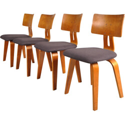 Set of 4 Pastoe dining chairs in birch plywood and fabric, Cees BRAAKMAN - 1950s