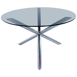 Roche Bobois dining table in chromed metal and smoked glass - 1970s