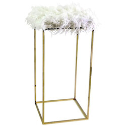 High modern brass faux fur stool - 1960s