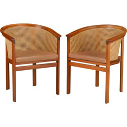 """Pair of """"King Series"""" armchairs in mahogany and brown leather, Rud THYGESEN & Johnny SORENSEN - 1980s"""