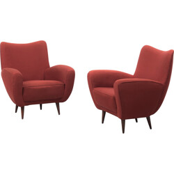 Pair of Italian armchairs in wood and red fabric - 1960s