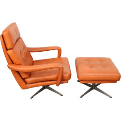 Leather swivel lounge chair with ottoman - 1970s