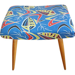 Vintage ottoman in wood and fabric - 1950s