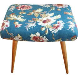 Vintage stool in wood and fabric - 1960s