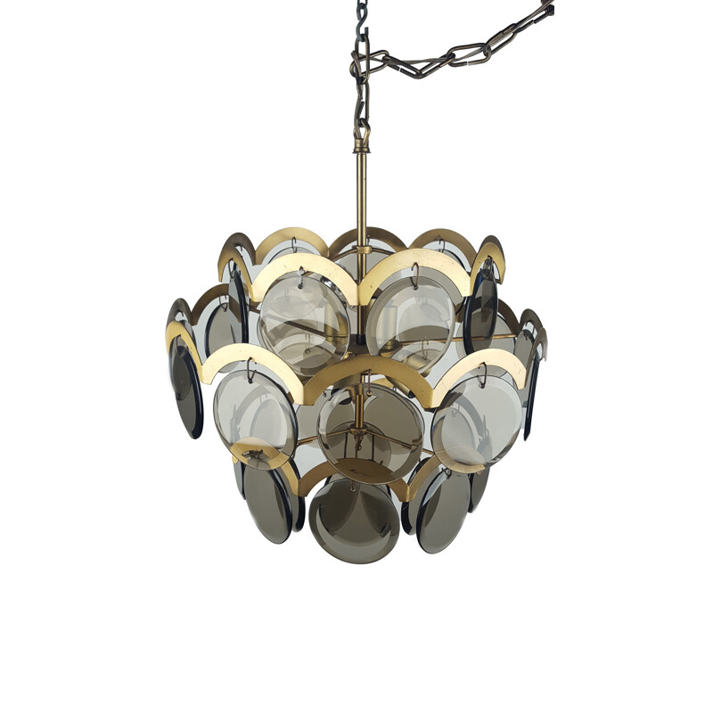 Italian chandelier in glass and brass, Gino VISTOSI - 1970s