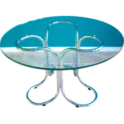 Vintage glass table with metal base - 1970s