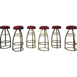 Set of 6 stools in brass and leatherette - 1950s