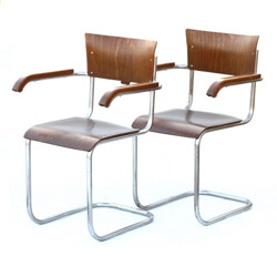 Pair of industrial armchair in plywood and chrome piping - 1960s