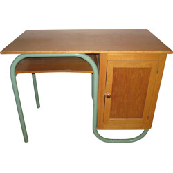 School desk in oak and metal - 1950s