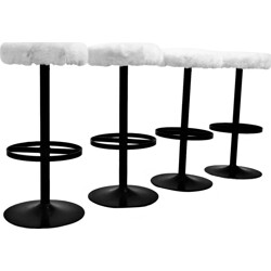 Set of 4 bar stools in steel and wool - 1960s