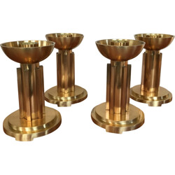 Set of 4 brass candlestick - 1940s