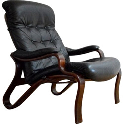 Black leather relaxing armchair, Ingmar RELLING - 1960s