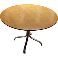 Round dining table in gilded oak - 1970s