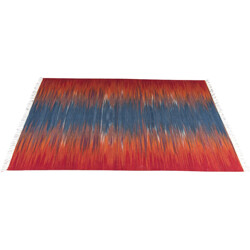 Kilim rug woven in blue and red - 1970s