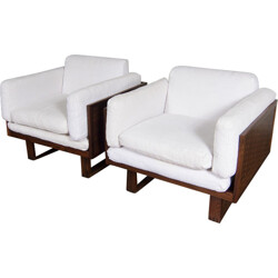 Pair of armchairs in white linen, Poul CADOVIUS - 1960s