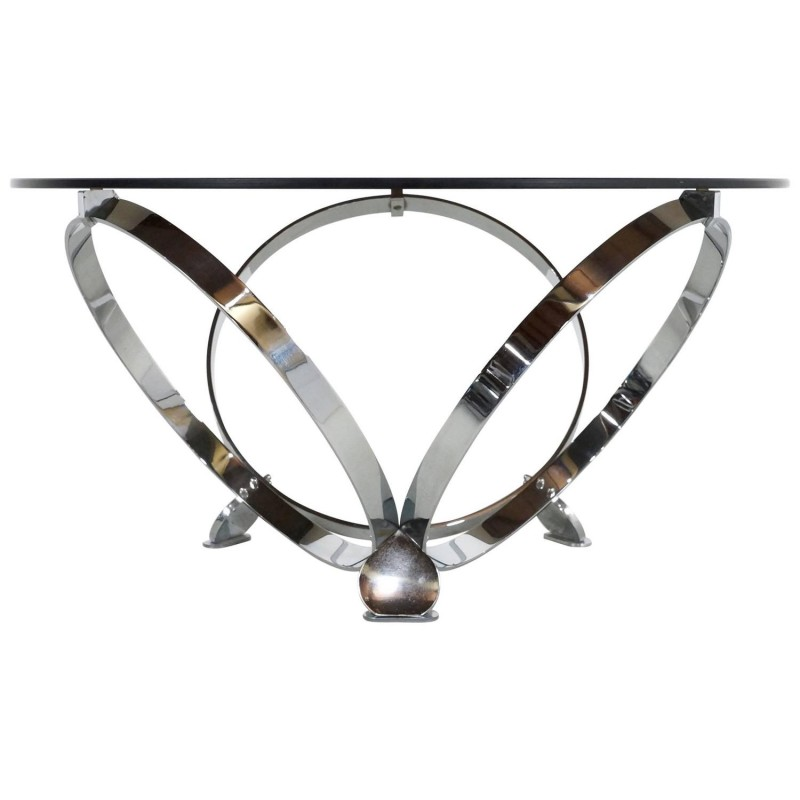 Round coffee table in chromed metal and smoked glass, Knut HESTERBERG - 1970s