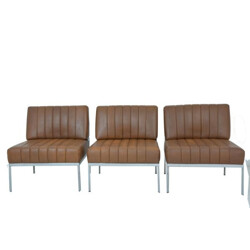 Set of 3 DLG Knoll armchairs in brown leatherette - 1970s