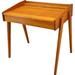 Vintage small desk in light oak with trunk - 1950s